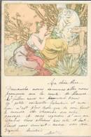 Illustration Mucha - Les âges De La Vie - Femme Et Le Vieillard - Carte Dos Simple - Mucha, Alphonse