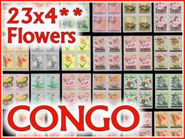 Congo Lot Fleurs Entre 302 & 323**  22 Blocs** Et Un Bloc SG - 1947-60: Neufs