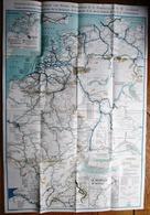 GRANDE VIEILLE CARTE DE VOIES INTERIEURES NAVIGABLES NORD OUEST DE L' EUROPE - RARE  70 X 100 - Maps