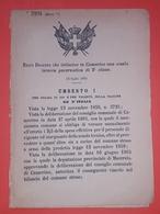 Decreto Regno Italia - Istituzione Scuola Tecnica Governativa In Camerino 1885 - Vieux Papiers