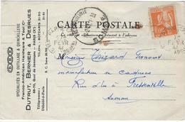 80  Fressenneville Carte Lettre  Fernand Thirard  Manufacture De Cadenas Et  Dutrut,bernier Desrues Paris 75010 Jemmapes - France