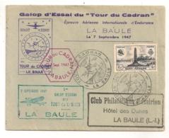 1947 1er GALOP D'ESSAI DU TOUR DU CADRAN LA BAULE / AVIATION / COMMANDO BRITANNIQUE SAINT NAZAIRE  C214 - Marcofilia (sobres)
