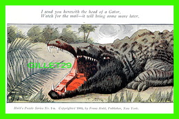 ALLIGATORS - CROCODILES - SERIES COMPLÈTE  DE 4 CARTES - HULD'S PUZZLE SERIES - TRAVEL IN 1906 - UNDIVIDED BACK - - Other