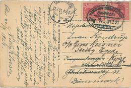 Bahnpost Hamburg Warnemünde Zug 7 - 21.7.21 Nach Dänemark Charlottenlund - Rs: AK Rosengarten Im Tiergarten - Lettres & Documents
