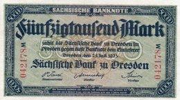 GERMANY 50000 MARK 1923 -SACHSISCHE BANKONOTE XF-AUNC - Zwischenscheine - Schatzanweisungen