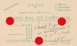 ROYAL VERVIERS NATATION 1938 Grand Bal De Carnaval  Jack Kluger And His Pintonians Avec Autographe Imprimé Chez Kurtz - Programmes