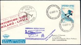 BUSTA VOLO SPECIALE MILANO LIPSIA DEL 5.9.1971 - ANNULLI IN PARTENZA DA MILANO E ALL'ARRIVO A LEIPZIG - SASSONE 1116 - 6. 1946-.. Repubblica
