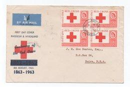 Rhodesia & Nyassaland, COVER To Beira, Mozambique, Centenary Of The Red Cross, FDC 1963  (2 Scans) - Rhodésie & Nyasaland (1954-1963)