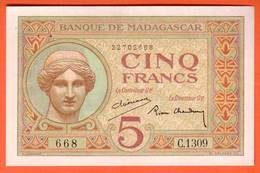 MADAGASCAR - 5 Francs - 1937 Pick 35 - Madagascar