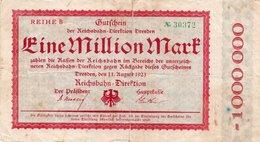 GERMANY 1 MILLION MARK 1923 -CIRCOLATED - Zwischenscheine - Schatzanweisungen