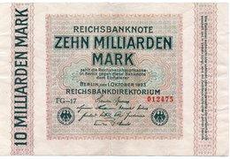 GERMANY 10 MILLIADREN MARK 1923 -CIRCOLATED - Zwischenscheine - Schatzanweisungen