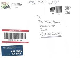 USA 2015 New York Grand Central Station Meter Toshiba EMA Eagle Registered Cover To Cameroon - Cartas