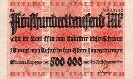 GERMANY 500000 MILION MARK 1923 -NOTGELD DER STADT ESSEN-XF+AUNC - Zwischenscheine - Schatzanweisungen