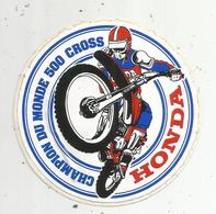Autocollant , Moto , HONDA , Champion Du Monde 500 Cross - Autocollants