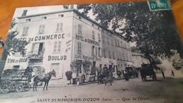 Cpa Saint Symphorien D Ozon Rare Hôtel Du  Commerce Très Animées - France