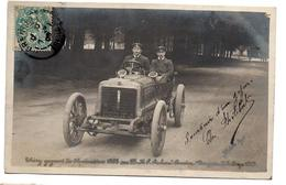 CHERY VAINQUEUR DE RALLYE AUTO EN 1905 CARTE PHOTO ANIMEE - Rallyes