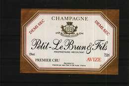 Etiquette De Champagne  Demi-Sec  PETIT-LE BRUN & Fils - Champagne