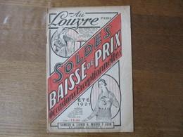 AU LOUVRE PARIS ETE 1921 SOLDES OCCASIONS EXCEPTIONNELLES CATALOGUE 16 PAGES - Advertising