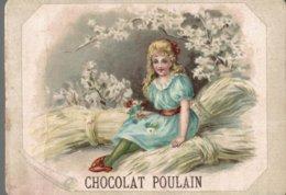 CHROMO CHOCOLAT POULAIN  JEUNE  FILLE ASSISE SUR DES GERBES - Poulain