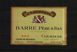 Etiquette De Champagne  Sec BARRE Père & Fils - Champagne