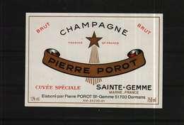 Etiquette De Champagne  Brut Cuvée Spéciale  PIERRE POROT - Champagne
