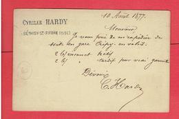 BETHISY SAINT PIERRE 1877 COMMANDE CYRILLE HARDY POUR BONPAS GRAINETIER A CHARTRES EURE ET LOIR  CARTE EN BON ETAT - France