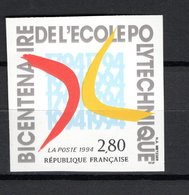 FRANCE  N° 2862a   NON DENTELE  NEUF SANS CHARNIERE  COTE 25.00€    ECOLE POLYTECHNIQUE - Francia