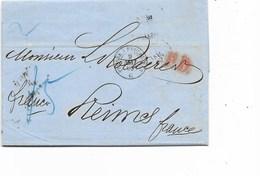 LE 0537. LAC De St PETERSBOURG 24 AVR 1863 V. REIMS - Franco - PD - C2c PRUSSE A ERQUELINNES /C + COELN/VERVIERS.TB - 1857-1916 Empire