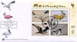 ONU Genève 2020 - Endangered Species - Espèces En Danger FDC (Grue, Addax, Faucon, Narval) - FDC