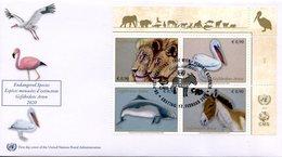 ONU Vienne 2020 - Endangered Species - Espèces En Danger - Gefährdete Arten FDC (Lion, Pélican, Marsouin, Ane) - FDC