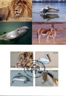 ONU Vienne 2020 - Endangered Species - Espèces En Danger - Gefährdete Arten MC (Lion, Pélican, Marsouin, Ane) - Cartes-maximum