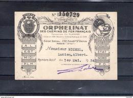 Carte De Membre Actif De L'orphelinat Des Chemins De Fer Français. 1934 - Andere