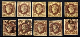 Espagne YT N° 57, Cinq Timbres Neufs (*) Et Cinq Timbres Oblitérés. B/TB. A Saisir! - 1850-68 Kingdom: Isabella II