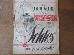 AU LOUVRE PARIS JUIN 1922 SOLDES OCCASIONS SPECIALES 12 PAGES - Advertising
