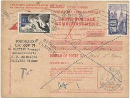 CARTE POSTALE REMBOURSEMENT 1955 AVEC TIMBRE A 12 FR QUIMPER, CACHET TAXE ET TIMBRE A 25 FR GANTERIE - Storia Postale