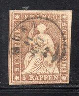 APR2725 - SVIZZERA 1854 , 5 R.  N. 26  Usato Filo Verde (M2200) - Oblitérés