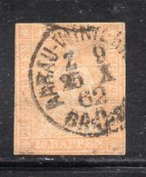 APR2737 - SVIZZERA 1854 , 15 R.  N. 28  Usato Filo Verde (M2200). Piega Orizzontale - Oblitérés