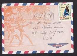 French Polynesia: Airmail Cover Papeete To USA, 1973, 1 Stamp, Child Daycare, Children, Rare Real Use (traces Of Use) - Storia Postale