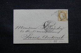 FRANCE - Enveloppe De Paris Pour Paris Auteuil En 1874, Affranchissement Cérès 15ct, étoile 22 - L 55904 - 1849-1876: Klassik