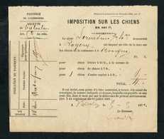 """Document """"Imposition Sur Les Chiens En 1870 - Commune De Bovigny (Gouvy)"""" Vielsalm - Luxembourg - Taxe Sur Les Chiens - Historical Documents"""