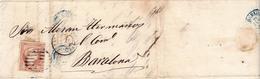 Año 1856 Edifil 48 4c Isabel II Carta Matasellos Rejilla Totana Murcia - Briefe U. Dokumente