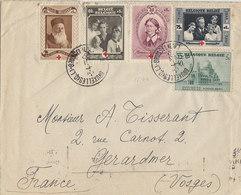 Belgique , Divers Timbres Croix Rouge Sur Lettre De 1939 Pour La France , 2 Scans - Belgium