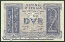 TWN - ITALY 27 (A.38) - 2 Lire 1939 - XVIII Series 443 - Signatures: Grassi, Porena & Cossu AU/UNC - Italia – 2 Lire