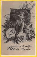 Carte Postale Photo Bonne Année Souvenir D'INDOCHINE (Asie-Asia-Asien-Cochinchine-Vietnam-Jeune Femme Nue Sein Nu - Autres