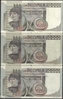 TWN - ITALY 106a2 (A.861) - 10000 10.000 Lire 29.12.1978 DEALERS LOT X 3 - Signatures: Baffi & Stevani VG/F - [ 2] 1946-… : Repubblica
