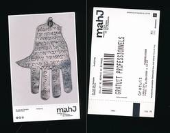 R88- Ticket D'entrée -Musée D'art Et D'histoire Du Judaïsme-MAHJ-amulette  Hamsah-2020 - Tickets D'entrée