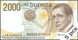TWN - ITALY 115a2 (A.744) - 2000 2.000 LIRE 24.10.1990 DEALERS LOT X 5 - SB XXXXXX D - Signatures: Ciampi & Speziali UNC - 2000 Lire