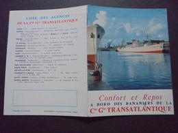 NAVIGATION : Cie Gle TRANSATLANTIQUE , LA LIGNE BANANIERE, DEPLIANT, VOIR SCAN - Verkehr & Transport