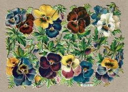Priester F. & Eyck - P & E N° 587 - SCRAP -  DECOUPIS  - Gaufré / Embossed - Flowers / Pansies / Pensées Fleurs 2 Scans - Flowers