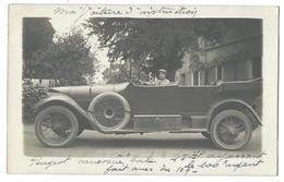 CARTE PHOTO PEUGEOT 45 HP - Un Militaire La Conduisant - Carte écrite à Orléans - Taxis & Huurvoertuigen